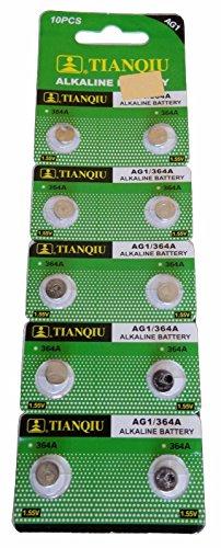 Tianqiu 50 X Ag1 Lr621 364 Sr621Sw Alkaline Battery
