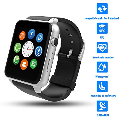 Smart Watch,Best Valentines Gift,Couples Watches,TWOBIU(TM)Smart Watch with Heart Rate Test,G-Senser,HD IPS Screen,WaterProof Grade IP57 Support iOS and Android-Black