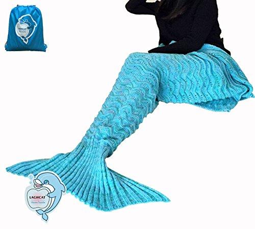 LAGHCAT Mermaid Tail Blanket Knit Crochet and Mermaid Blanket for Adult,Sleeping Blanket (71x35.5, Wave Blue)