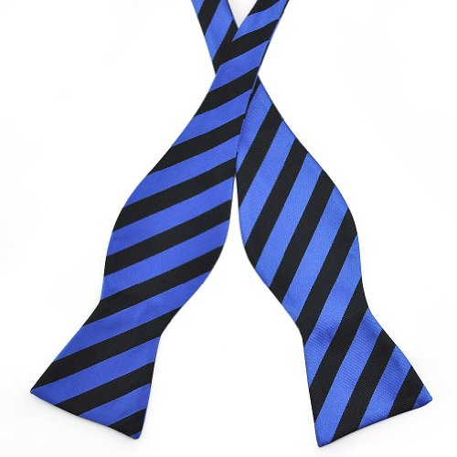 PenSee Mens Self Bow Tie Black and Blue Stripe Jacquard Woven Silk Bow Ties