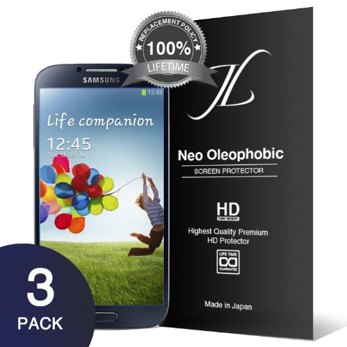 [Neo HD Oleophobic] JL31.6 Samsung Galaxy S4 Screen Protector - Premium Japanese Film - 3 Pack - Lifetime Replacement - Verizon, AT&T, Sprint, T-Mobile, International, and Unlocked - Screen Protector Cover for Galaxy S IV SIV i9500 2013 Model