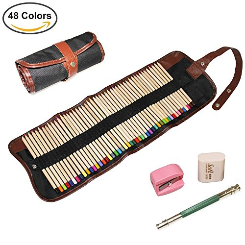 AIVN Colored Pencils Set 48 Colors - with Canvas Case Bag, Eraser, Sharpener, Extender Holder for Kids & Adults Coloring Books