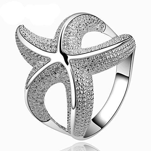 Fashion Beautiful 925 Silver Classic Sea Star Rings size 8