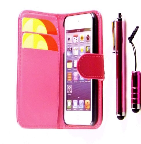 R.BAWA. PACK OF 5. Pink Leather Wallet Case For Apple iPod Touch 5, 5TH Generation + 2 Screen Protectors + 2 Stylus Pens