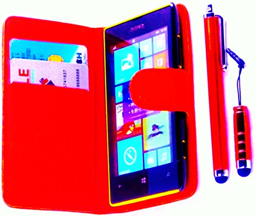 R.BAWA. Pack Containing 5 Parts. Red Leather Wallet Case For Nokia Lumia 520 + 2 Screen Protectors + 2 Stylus Pens