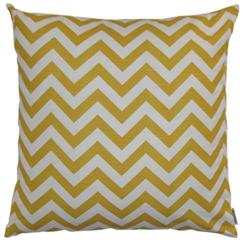 JinStyles® Cotton Canvas Chevron Striped Accent Decorative Throw Pillow Cover (Yellow & White, Square, 1 Cushion Sham for 22 x 22 Inserts)