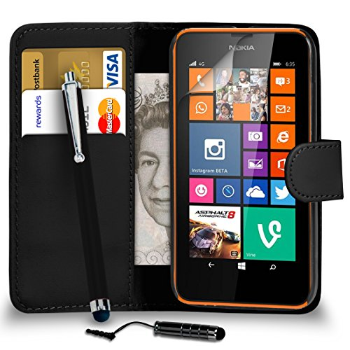 Nokia Lumia 635 Black PU Leather Wallet Flip Case Cover Pouch + Mini Touch Stylus Pen + Big Touch Stylus Pen + Screen Protector & Polishing Cloth BY SHUKAN