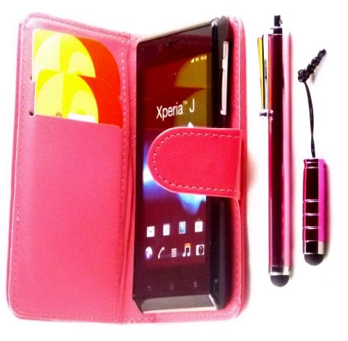 R.BAWA. Pack Containing 5 Parts. Pink PU Leather Wallet Case FOR SONY XPERIA J ST26i + 2 Screen Protectors + 2 Stylus Pens