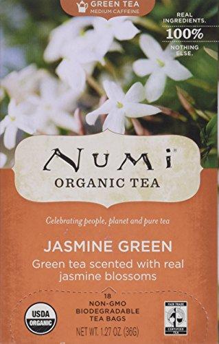 Numi Organic Tea Monkey King, Full Leaf Jasmine Green Tea in Teabags, 18-Count Box (Pack of 6)