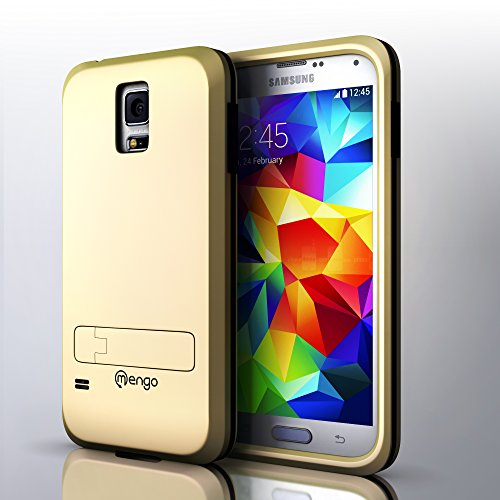 S5 Case, Mengo Stealth Armor Shockproof Case for Samsung Galaxy S5 Featuring Cloud Cushion Technology and Matte Screen Protector (Gold)