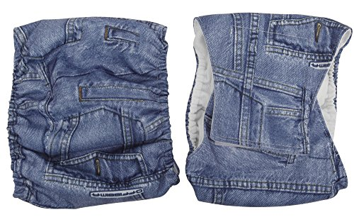 Wegreeco Jeans Washable Male Dog Diapers (Pack of 2) - Washable Male Dog Belly Wrap (Small - 13-16waist)