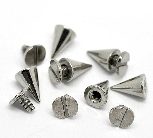 Rockin Beads Brand, 48 Sets Steal Tone Cone Screw on Spike Rivet Studs 3/8x1/4 Inch (10x5mm Spike) Punk Gothic or Leather Work