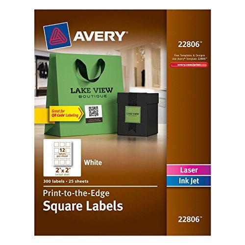 Avery Permanent Square Label, White, Inkjet/Laser