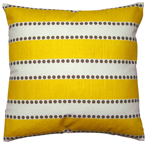 JinStyles® Cotton Canvas Striped Accent Decorative Throw Pillow Cover (Yellow & White, Square, 1 Cushion Sham for 18 x 18 Inserts)
