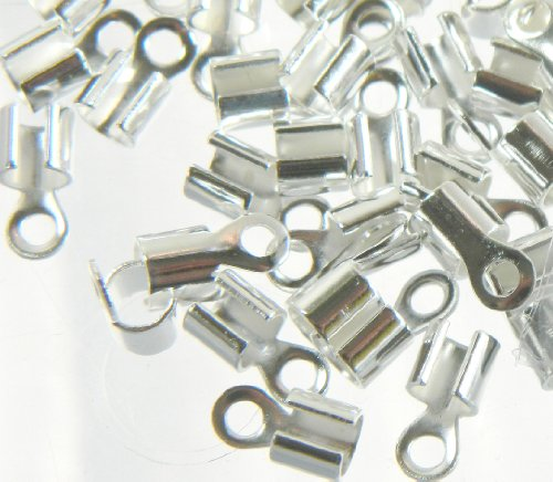 Rockin Beads Brand, 300 Silver Plated Brass Cord Tip Ends Silver-plated Brass 10x5mm 3mm to 5mm Inside Diameter Pkg of 300