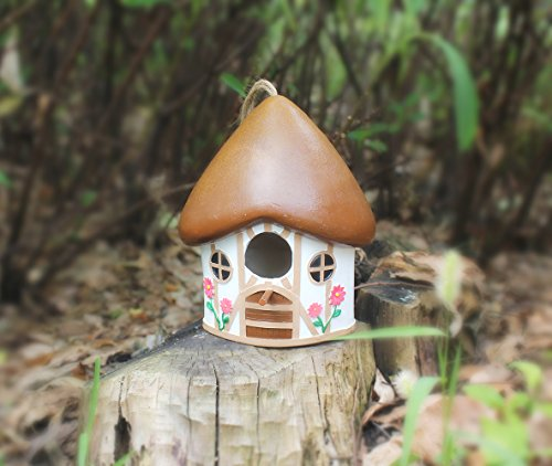 WildBird Care Resin Hanging Bird House BRH03 House Style (White & Brown)