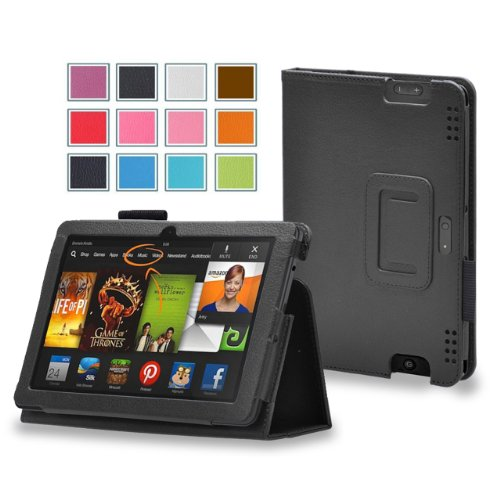 Maxboost Amazon Kindle Fire HDX 8.9 Case Book Foilo Leather Stand Cover Case [Black] - Premium Slim Protective Leather Case Slim Builds with Multi-Angle Stand, Stylus Holder, and Hand Holding Strap - Compatible to Amazon Kindle Fire HDX 8.9 inches (Fit Amazon Kindle Fire HDX 8.9 Tablet 2014 4th Generation and 2013 3rd Generation)