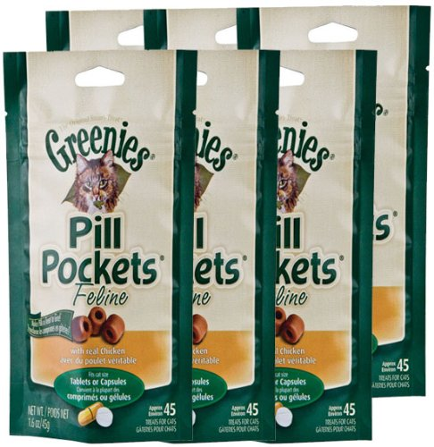 6-PACK Pill Pockets for Cats CHICKEN 9.6 oz (270 pockets)