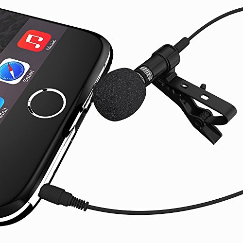 VONOTO Deluxe Lavalier Lapel Clip-on Omnidirectional Condenser Microphone for Apple iPhone, iPad, iPod Touch, Android & Windows Smartphones
