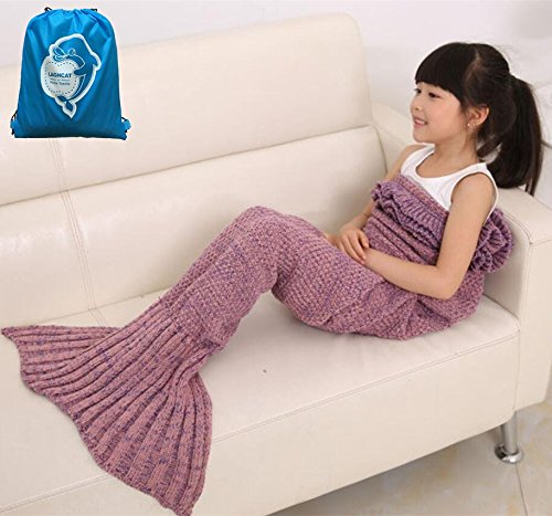 LAGHCAT Mermaid Tail scalloped Blanket Knit Crochet and Mermaid Blanket for kids,All Seasons Sleeping Blanket (56x28, Kids Pink)
