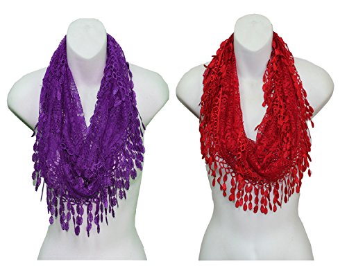 Frenchic Lace Vintage Infinity Scarf Tassel (Pack of 1 or 2)