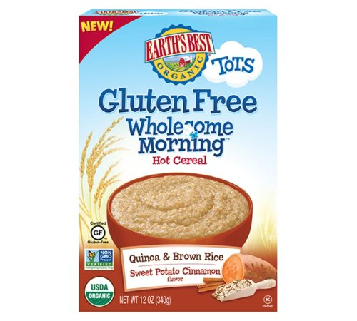 Earth's Best Organic Wholesome Morning Hot Cereal, Gluten Free Sweet Potato & Cinnamon, 12 Ounce