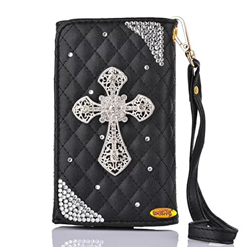 iPhone 6S Case,iPhone 6 Case, Welity Black Color Fashion Cross 3D Bling Leather Wallet Type Magnet Design Flip Case Cover Credit Card Holder Pouch Phone Case for Apple iPhone 6/6S 4.7-inch