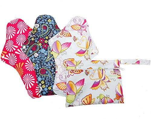 Extra Large Reusable Menstrual Pads with 1 Mini Bag (Pack of 4)