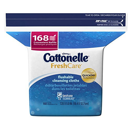 Cottonelle Fresh Care Flushable Cleansing Cloths Refill, 168 Count