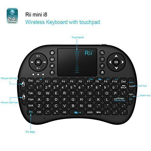 Rii® mini i8 2.4GHz Wireless XBMC Keyboard with Touchpad Mouse, Rechargable Li-ion Battery, Soft Silicon button ,Raspberry Pi 2, Mac, HTPC, Android TV Box ,Windows 7 8 10