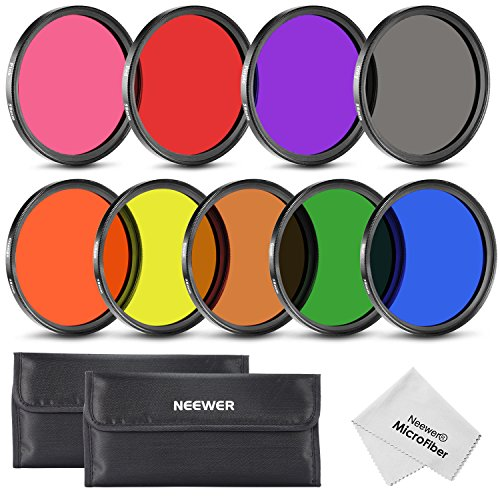Neewer® 58MM Complete Full Color Lens Filter Set (9pcs) for Camera Lens with 58MM Filter Thread - Includes: Red, Orange, Blue, Yellow, Green, Brown, Purple, Pink and Gray ND Filters + Filter Carry Pounch + Microfiber Lens Cleaning Cloth