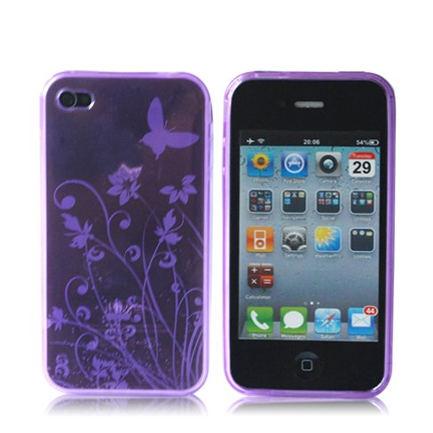 Butterfly TPU Silicone Case Cover for Apple iPhone 4 4G 4S AT&T and Verizon Purple