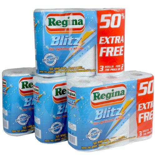 12 Rolls Of Regina Blitz Kitchen Roll Paper Towels Supplies Wholesale Job Lot