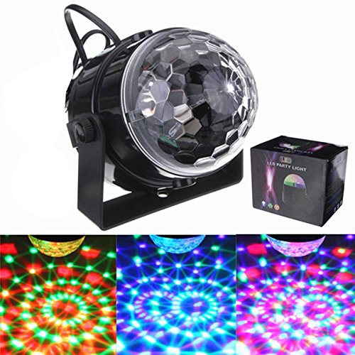 SOLMORE Mini RGB LED Stage Light Party Disco Club DJ Light Crystal Magic Ball Effect,UK Plug