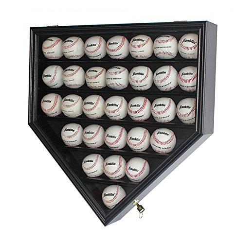 30 Baseball Display Case Cabinet Holder Rack Home Plate Shaped w/ UV Protection- Lockable B30H-BL