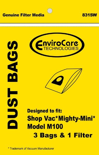 Generic Shopvac Paper Bag for Mighty-Mini 3 Bags & 1 Filter
