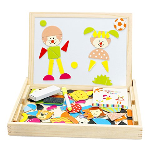 Lewo Drawing Board Toys Magnetic Puzzle Games Dry Erase Board Chalkboard Easel for Kids Imagination