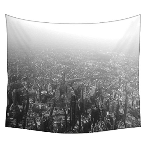 Snoogg Black White London Wall Hanging Indian Mandala Tapestry Decorative Dorm Tapestry Wall Hanging Beach Picnic Sheet Hippie Tapestry Wall Tapestries , Bohemian Tapestries