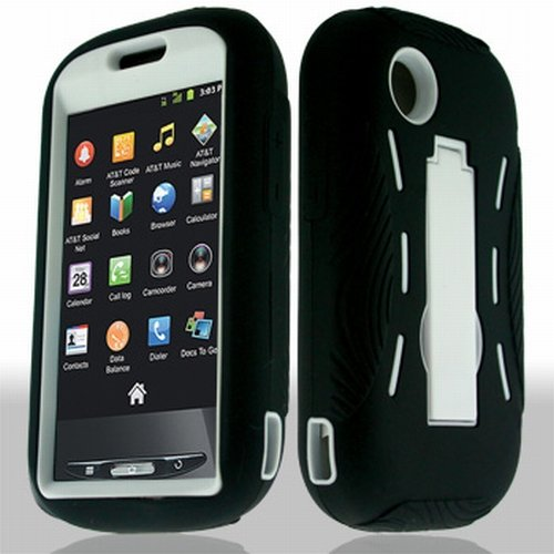 Artisan Deco Store Black/White Hybrid Duo Shield Tough Armor Case Stand, SureGrip Skin Cover, Screen Protector and MyDroid Magnet for Straight Talk ZTE Merit Android