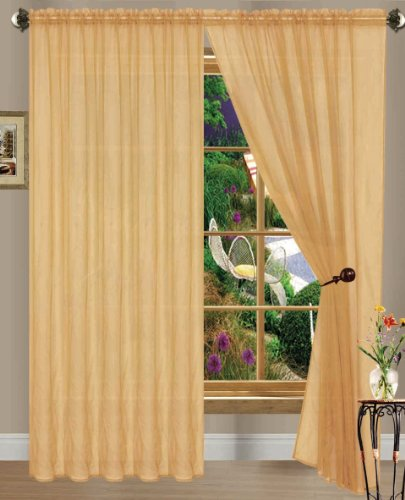 Gold Linda Sheer Voile Panel/curtain/drape; 55 inches wide X 84 inches long; One Panel Per Package