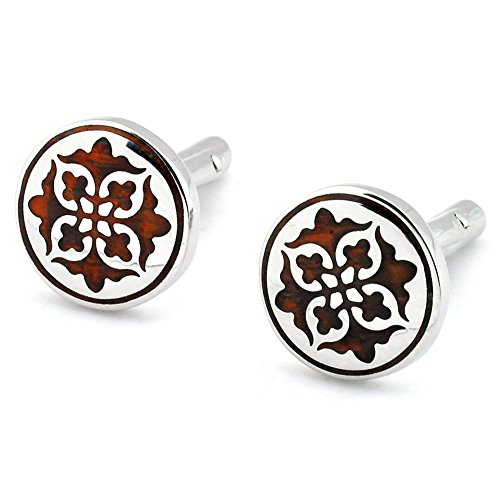 PenSee Unique Stainless Steel & Red Wood Floral Cufflinks for Men with Gift Box
