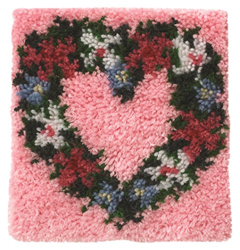 Wonderart Heart Wreath Latch Hook Kit, 12 X 12
