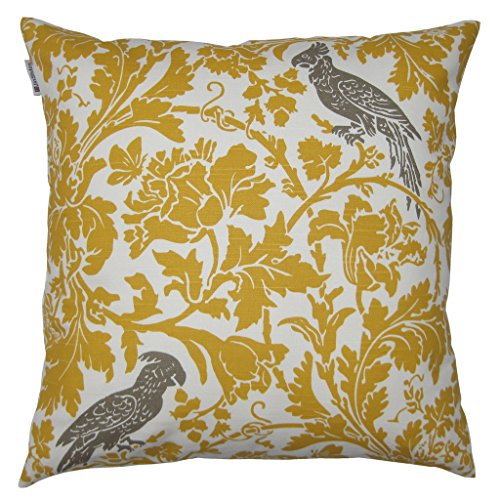 JinStyles® Cotton Canvas Parrot Accent Decorative Throw Pillow Cover (Yellow & White, Square, 1 Cushion Sham for 20 x 20 Inserts)