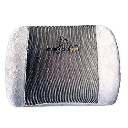 **70% OFF SPECIAL** Cushion Rx Premium Memory Foam Theraputic Grade Ventilative Mesh Lumbar Support Cushion for Lower Back Support - Alleviates Lower Back Pain