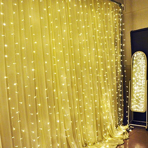 Solmore Home Decorative Garden Decorative Window Curtain Festival Led Lights, 3X3-Meters, Warm White