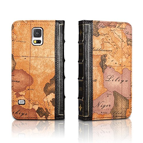 EC Technology® Samsung Galaxy S5 Case Retro Map Pattern Case Handmade Wallet Book Cover with Credit Card ID Case - Map (Pattern is different and random delivery)