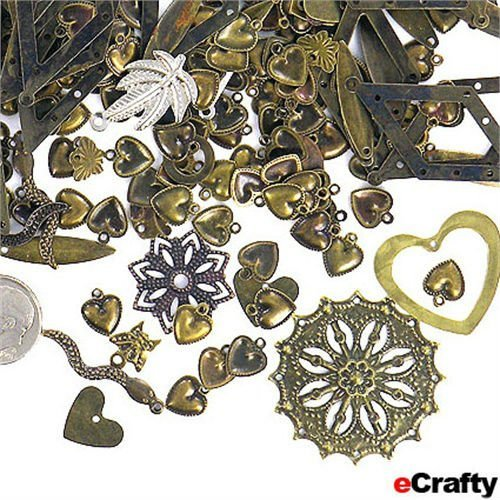 eCrafty EC-5633 Jewelry Maker's Stamped Metal Charms and Pendants Mix, 50gm