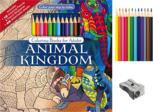 Animal Kingdom Adult Coloring Book With Colored Pencils And Pencil Sharpener Included: Color Your Way To Calm (Color with Music)
