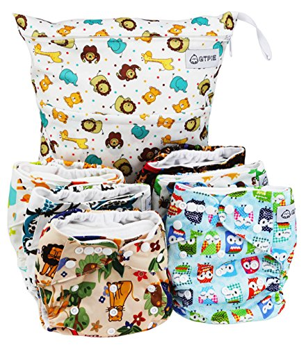 QTPIE Cloth Pocket Diapers with Inserts and Wet Bag, Adorable 13 Piece Set