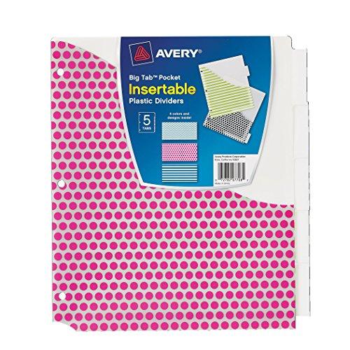 Avery Big Tab Pocket Insertable Plastic Dividers, 5-Tab Set, 1 Set (07708)